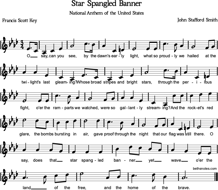 Star Spangled Banner Beth S Notes