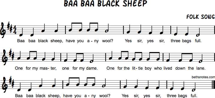 Baa Baa Black Sheep Beth S Notes