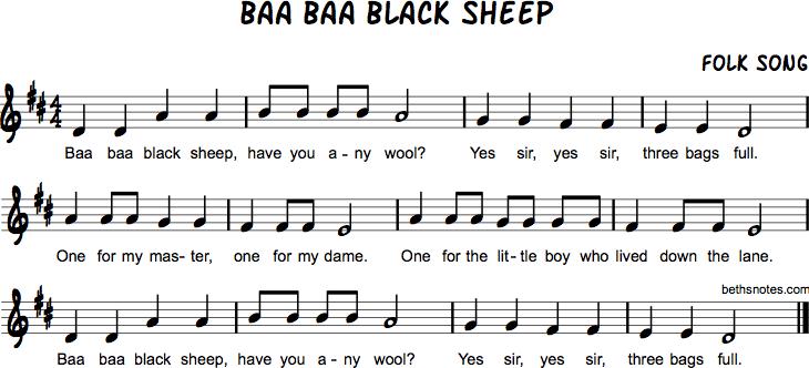 Baa Baa Black Sheep Beths Notes