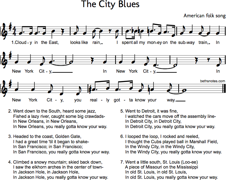 The City Blues - Beth's Notes