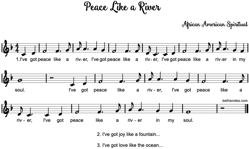 Peace Like A River Beths Notes