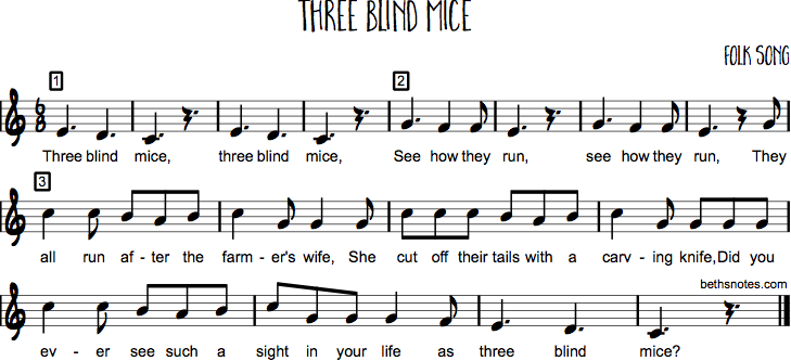 Three Blind Mice And Variations Beths Notes
