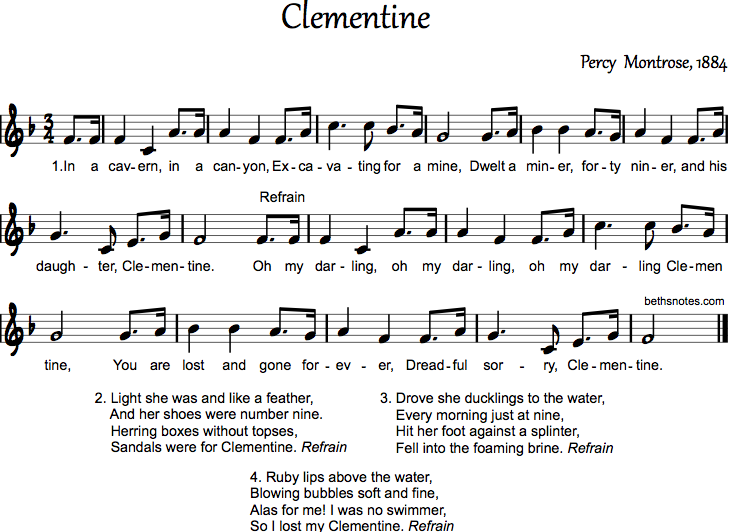 Oh, My Darling Clementine Lyrics - Scout Songs