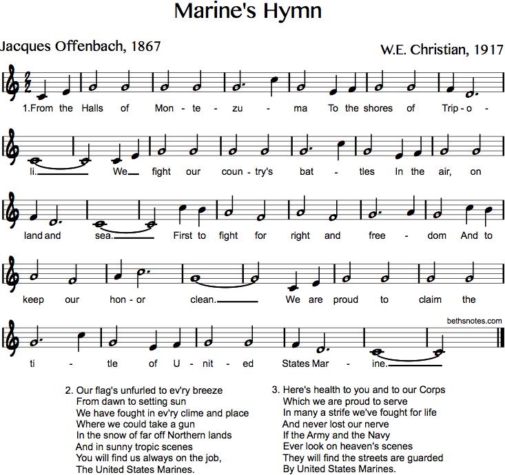 Lyric marine corps hymn lyrics : Marine's Hymn - Beth's Notes