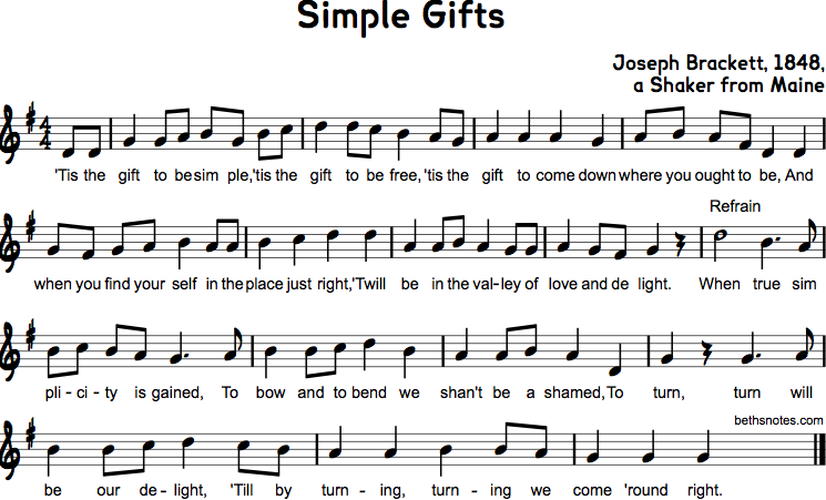 Simple Gifts - Beth's Notes