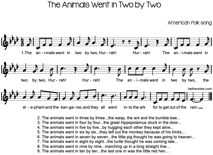 The Animals went in Two by Two Lyrics 🐘 | Nursery Rhymes ...