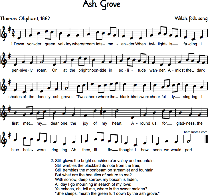 Lyric blue song lyrics : Ash Grove - Beth's Notes