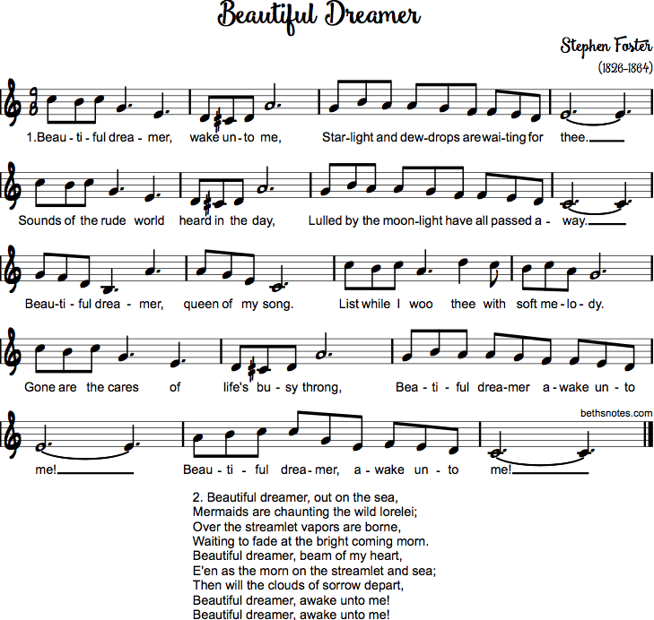 Do Re Mi Lyrics Sheet Music: Beautiful Dreamer