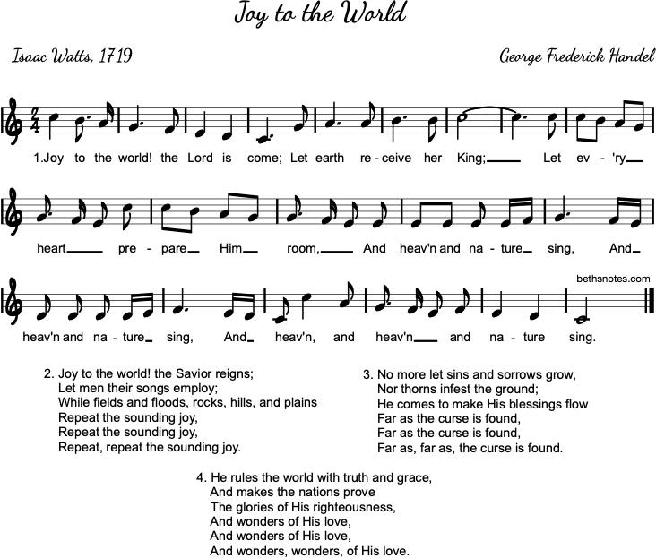Joy To The World Lyrics.Joy To The World Beth S Notes