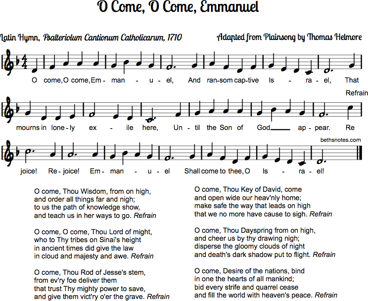 O Come O Come Emmanuel - Beth\'s Notes