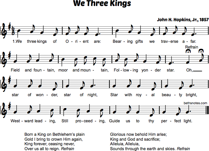 We Three Kings Of Orient Are Beths Notes