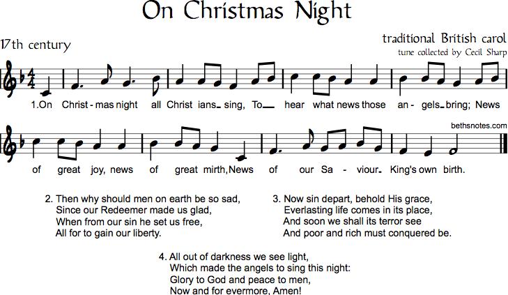 Sussex carol on christmas night beth s notes