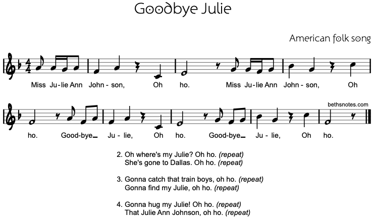 Goodbye Julie (Miss Julie Ann Johnson) - Beth's Notes