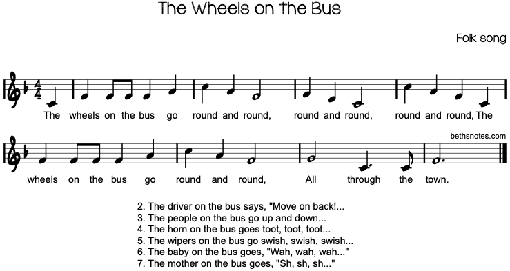 The Wheels On The Bus Beths Notes