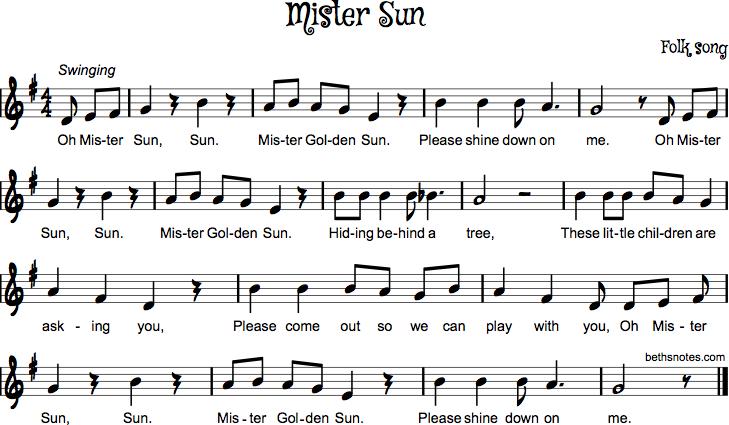 Mister Sun - Beth\'s Notes