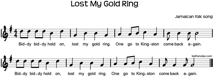 lost my gold ring beth s notes