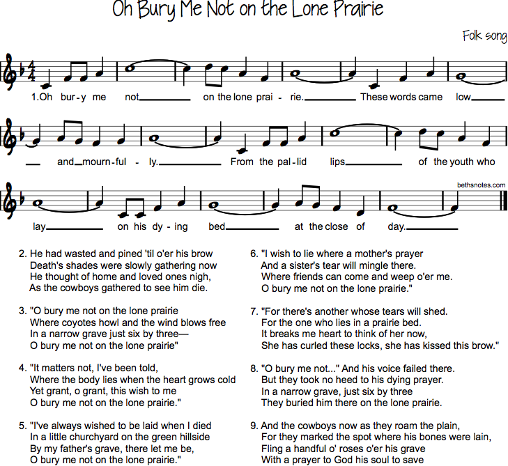 Oh Bury Me Not on the Lone Prairie - Beth's Notes
