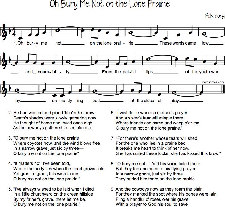 Lyric bones lyrics : Oh Bury Me Not on the Lone Prairie - Beth's Notes