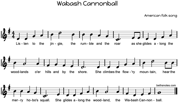 Wabash Cannonball Beths Notes
