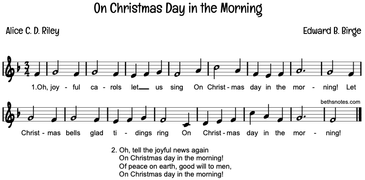 On Christmas Day in the Morning - Beth's Notes