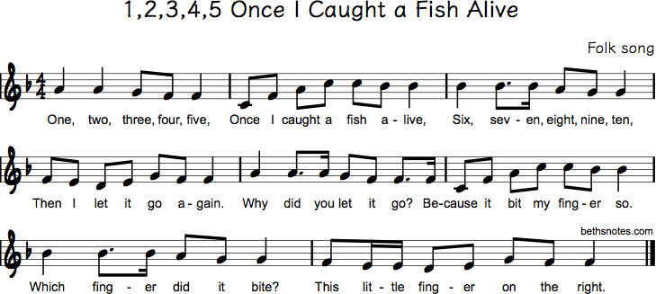 12345 once i caught a fish alive beths notes