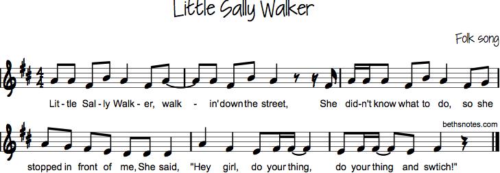 Little Sally Walker (walkin' down the street)