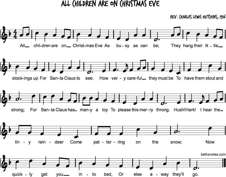 All Children are on Christmas Eve - Beth's Notes