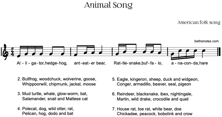 Animal Song - Beth's Notes