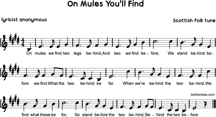 On Mules You'll Find - Beth's Notes 1