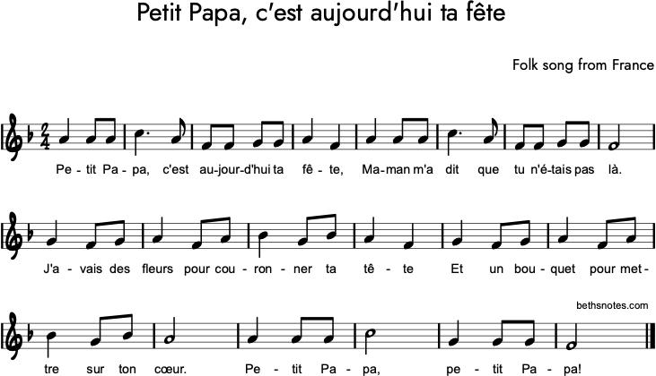 Petit Papa, c'est aujourd'hui ta fête - Beth's Notes 1