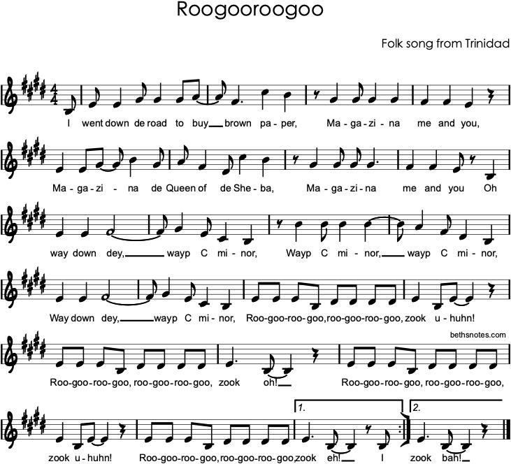 Roogooroogoo - Beth's Notes 1